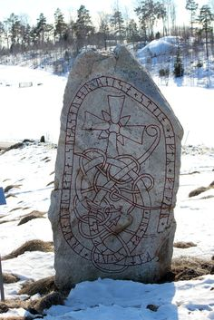 Malmby, Sweden. Runestone  c AD 1000 Runes read as:  Ärnfast and Ärngöt sons of Siggunn let this stone arise in honor of their father Kättilfast