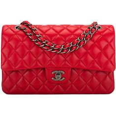 Pre-Owned Chanel Red Quilted Lambskin Medium Classic Double Flap Bag ($6,000) ❤ liked on Polyvore featuring bags, handbags, chanel, purses, red, colorful handbags, quilted purses, man bag, quilted hand bags and preowned handbags