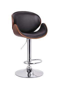 Crocus Modern Bar Stool - Walnut/Black on HauteLook