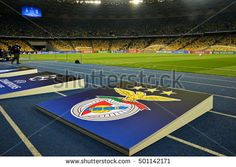 KYIV, UKRAINE - OCTOBER 19, 2016: FC Dynamo Kiev Logo on racetrack before the game between Dynamo Kiev and S.L. Benfica at NSC Olimpiyskyi stadium