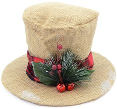 Burlap Christmas Holly Top Hat Decoration: 6.5-inch