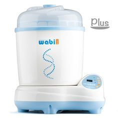 Wabi Baby Steam sterilizer & dryer plus - 1 hour for sterilizing and drying. Can only dry, only sterilize or both independently. Sterilizes 6-8 bottles plus little parts