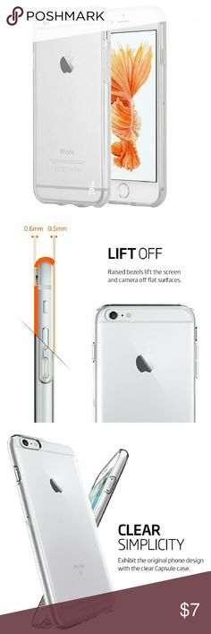 Clear IPhone 7 case Brand new clear iPhone 7 case. It's flexible and will still protect your iPhone. Comes in the sizes 7 and 7 plus.  This case is very good quality, its crystal clear and won't yellow over time. You won't see fingerprints on the case.  It has soft edges to protect the iPhone from scratches. Other