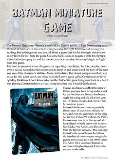 The Golden D6 Issue One - Batman Miniatures Game review