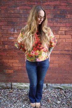 Floral Printed Mod TopLong Sleeve ShirtScoop by Clementinyclothing