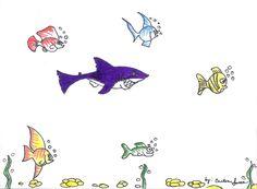 underwater drawings fish and shark