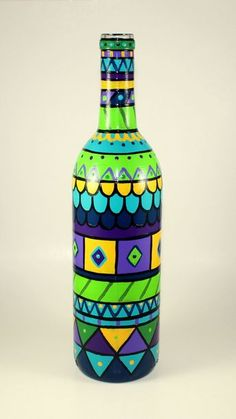 Hand Painted Bottle LIght Functional Art Re by ImpulsiveCreativity, $65.00