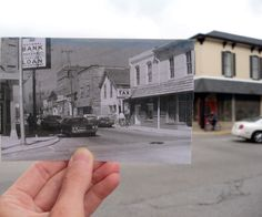 Main Street and Madison in Greenwood, Indiana, Then and Now. The vintage photo is superimposed over how the corner looks today.