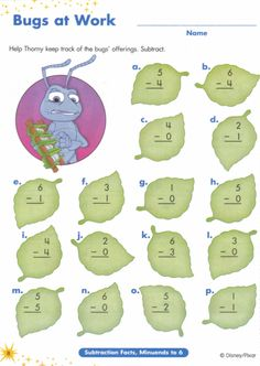 MATH ACTIVITY bugs life subtraction worksheets to add a manipulative give the students fake leaves or seeds to subtract with Disney Activities, Book Activities, Disney Games, Disney Lessons, Math Lessons, Subtraction Worksheets, Classroom Crafts, Classroom Ideas, Disney Colors