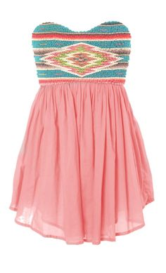 Pink dress with tribal prints top. Sheer genius!
