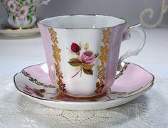 ROYAL GRAFTON Vintage Tea Cup and Saucer, Pink White Floral Teacup Set, Pink Roses, English Fine Bone China, 1950s