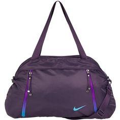 Nike Auralux Solid Club Training Bag ($46) ❤ liked on Polyvore featuring bags, handbags, shoulder bags, top handle purse, purple handbags, zipper purse, zip purse and zipper handbags