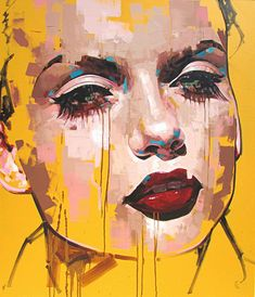 """Preservative"" - Jimmy Law, acrylic on canvas, 2015 {figurative #expressionist art beautiful female head grunge woman face portrait painting drips #loveart} jimmylaw.co.za"