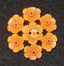 Vintage Bakelite Pierced & Carved Flower Button Cream Corn Yellow