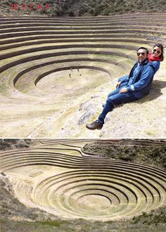 Moray, Peru. This archaeological site contains unusual Inca ruins, mostly consisting of several enormous terraced circular depressions, the largest of which is about 98 feet deep. The purpose of these depressions is uncertain, but their depth and orientation with respect to wind and sun creates a temperature difference of as much as 27 °F between the top and bottom. This large temperature difference was possibly used by the Inca to study the effects of different climatic conditions on crops.