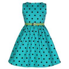 Lindy Bop Childrens Audry Fun Turquise Polka Dot Vintage Dress Rockabilly