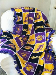 Nba Los Angeles Lakers Block Blanket By Rolaniswonderland On Etsy 22 00