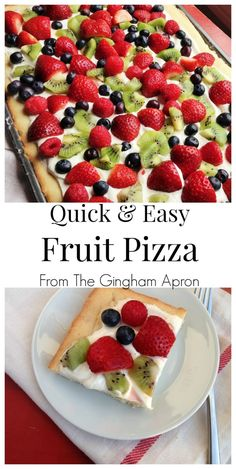 and Easy Fruit Pizza Starting with a sugar cookie mix, this fruit pizza is so quick and EASY to make. (Favorite Desserts Potlucks)Starting with a sugar cookie mix, this fruit pizza is so quick and EASY to make. Fruit Pizza Frosting, Fruit Pizza Bar, Easy Fruit Pizza, Fruit Pizzas, Dessert Pizza, Fruit Snacks, Healthy Desserts With Fruit, Quick Pizza, Puddings