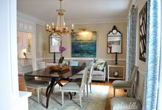 An Elegant Dining Room  by Dear Lillie Love the shades of blue, grey and cream