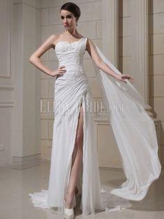Sheath/Column One Shoulder Watteau Train Chiffon Wedding Dresses