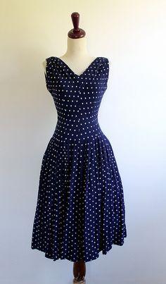 Jonathan Logan Navy Blue Polka Dot Sun Dress, vintage 1950s by LoLaVintage, via Flickr