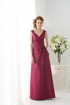 V Neck Straps Ruffled Dress Low Back Full Length Taffeta