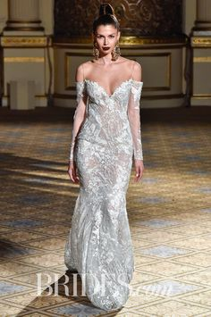 Berta Spring 2018 Off-the-shoulder handmade lace wedding dress, long sleeves and an open back with a sparkling underlay Chic Wedding Dresses, Perfect Wedding Dress, Wedding Gowns, Formal Dresses, Lace Dress, Dress Up, Corset Dresses, Dress Long, Wedding Corset