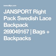 JANSPORT Right Pack Swedish Lace Backpack 269049167 | Bags + Backpacks