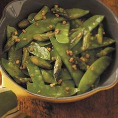 Snow Pea Asparagus Stir-Fry Recipe -Add a taste of the Orient to your menu with Joy Beck's snappy side dish. She accents the veggies with the vibrant flavor of ginger, making it a favorite in her Cincinnati, Ohio home. Stir Fry Recipes, Vegetable Recipes, Vegetarian Recipes, Healthy Recipes, Veggie Food, Yummy Recipes, Recipies, Healthy Snacks, Healthy Eating