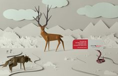 This beautiful print ad was developed by JWT, Buenos Aires for Argentinian magazine Alzas Bajas. The team created four paper-like images, including this gorgeous wildlife scene. Creative Advertising, Advertising Poster, Advertising Agency, Ad Design, Print Design, Graphic Design, Typography Ads, Origami Techniques, Paper Engineering