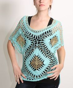 Another great find on #zulily! Mint Crochet Cape-Sleeve Top - Women by Shoreline #zulilyfinds