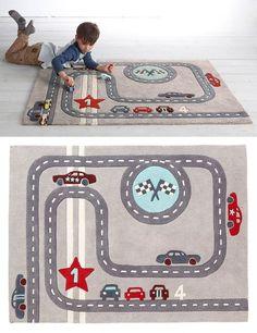 4- Alfombra para niño 'circuito de carreras', tema Rallye party, en Vertbaudet