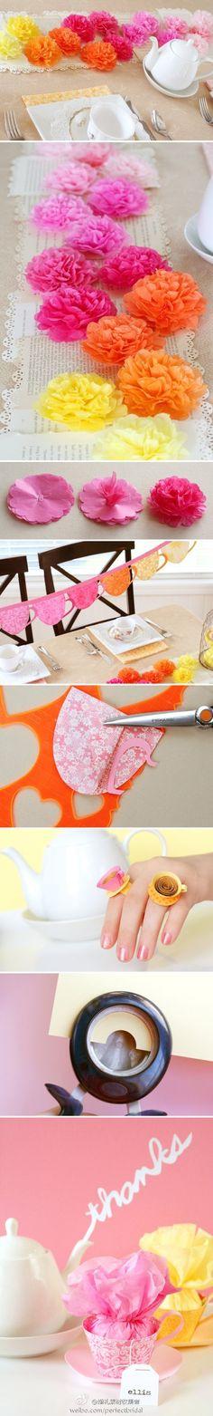 Tea Party arreglado con papel crepe detalle brillante DIY por favor: