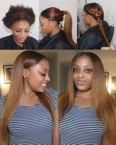 Versatile Sew In| Parted Down the middle   The perimeter of her hair is left out so she can have t...