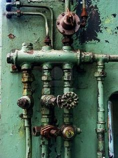 Green. Pipes. Decay. Industrial. www.tradescantandson.com