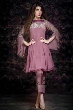 Best 12 – Petal Pink Casual Wear Pakistani Dress in Chiffon – SkillOfKing. Pakistani Fashion Casual, Pakistani Dresses Casual, Indian Gowns Dresses, Pakistani Dress Design, Indian Fashion, Pakistani Gowns, Dresses Dresses, Dresses Online, Designer Party Wear Dresses