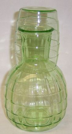 Hocking Depression Glass Green BLOCK OPTIC 6 by StraitsAntiques