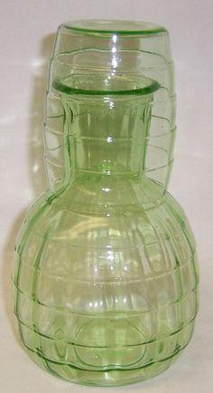 Hocking Depression Glass Green BLOCK OPTIC 6 by StraitsAntiques