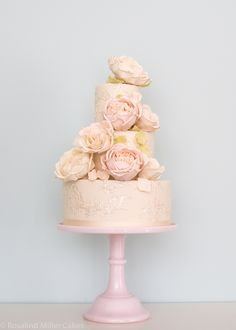 Blush Roses and Piped Embroidery Wedding Cake