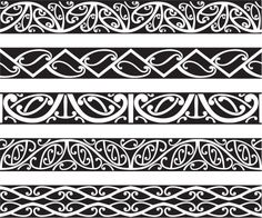 Kowhaiwhai Maori seamless patterns in black. Polynesian Art, Polynesian Tattoo Designs, Maori Tattoo Designs, Maori Symbols, Maori Patterns, Maori People, Celtic Tattoos, Maori Tattoos, Borneo Tattoos