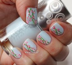 Marias Nail Art and Polish Blog: Play it blue with the pink and white flowers