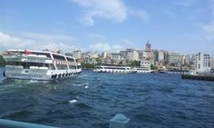 Looking across the Bosphorus at the Galata Tower, Instanbul. Turkey