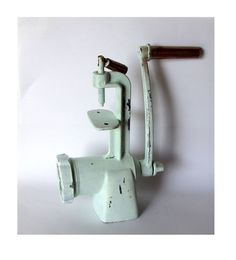 Metal meat grinder. Painted and distressed. Shabby chic. Industrial decor. Rustic. Upcycled vintage.