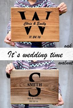 Monogram Wedding gift Engraved Cutting board Wood Anniversary gift 5 year Couple gift Family name Valentine Day gift Husband Wife