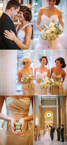 Glamorous New Year's Eve wedding inspiration with sparkly gold bridesmaid dresses! via @Style Me Pretty