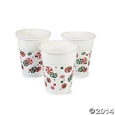 50 Disposable Plastic Holiday Christmas Party Cups