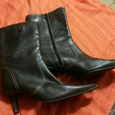 Chocolate Booties  $price drop$ Sleek leather brown booties. Worthington Shoes