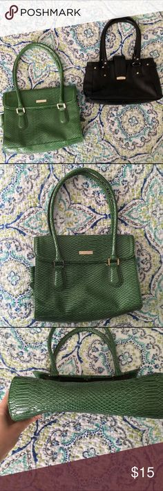 """Two Liz Claiborne Purses Bundle of two Liz Claiborne purses. Green purse is like new except for one tiny mark on the lining of the front flap and measures approx. 11"""" wide and 9"""" tall when laid flat. Black purse is in good condition, but has a small scuff mark on the lower left corner, slight wear at the edge of the straps, and some signs of wear in the lining. It measures approx. 11.5"""" wide, 6.5"""" tall when laid flat. Both purses look professional, but they're just not big enough for me to…"""
