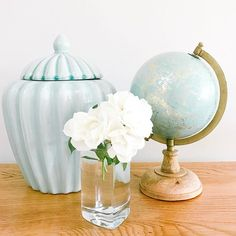 Ginger jar, aqua, globe