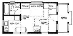 """Builder's Cottage Floor Plan - 14' wide, 24' long w/ 7'-6"""" x 13' sleeping loft, 3'-6"""" storage loft & 5' porch"""